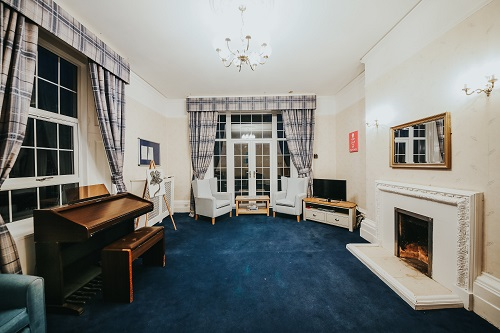 Blue lounge at Oxendon House Care Home